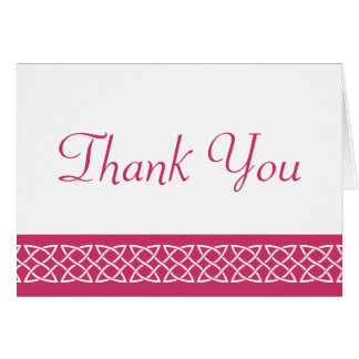 Celtic Weave Hearts in Raspberry Thank You Card
