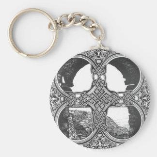 Celtic window arch tattoo basic round button keychain