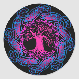 Celtic Wisdom Tree (Ultra Violet version) Classic Round Sticker