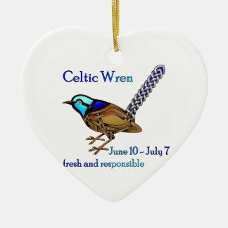 Celtic Wren Ceramic Ornament