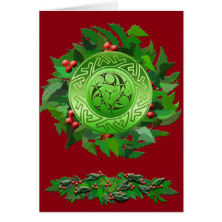 Celtic Yule Spiral with Holly Card