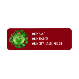 Celtic Yule Spiral with Holly Return Address Label