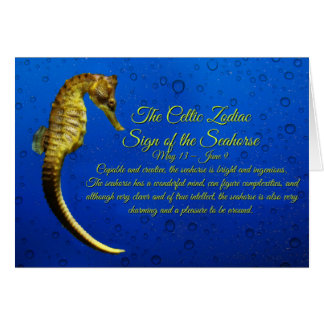 Celtic Zodiac Sign of the Seahorse Gemini Birthday Card