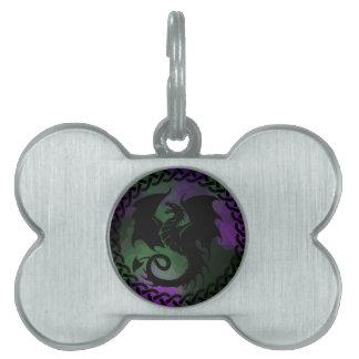 CelticCircleDragonPurpleGreen Pet ID Tags