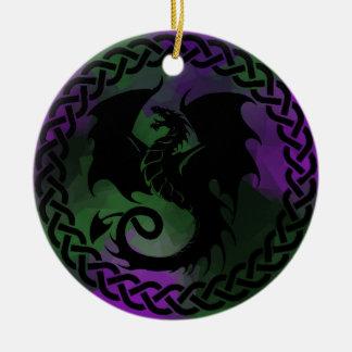 CelticCircleDragonPurpleGreen Round Ceramic Ornament
