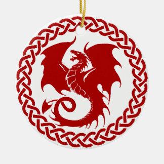 celticCircleRedDragon Round Ceramic Ornament
