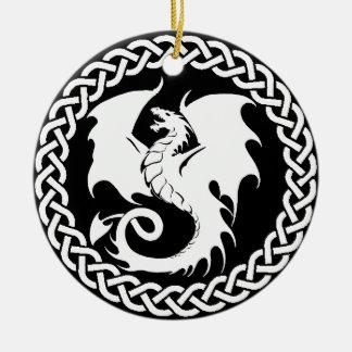 CelticCircleWhiteDragon Round Ceramic Ornament