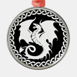 CelticCircleWhiteDragon Silver-Colored Round Ornament