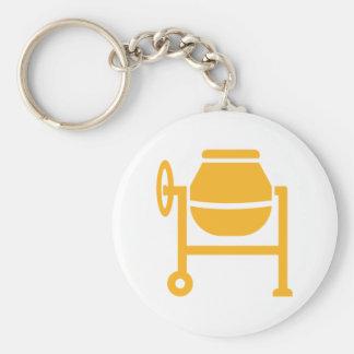 Cement mixer basic round button keychain