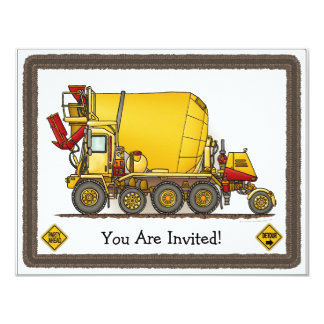 Cement Mixer Truck Kids Party Invitation