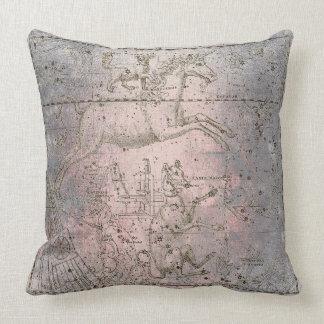 Cement Pink Rose Warm Gray Galaxy Stars  Unicorn Throw Pillow