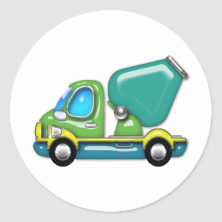 Cement Truck in Blue Green and Yellow Classic Round Sticker