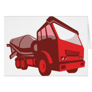 cement truck lorry retro style card