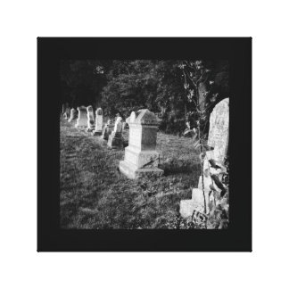 Cemetery gravestone creepy haunted black-and-white canvas print