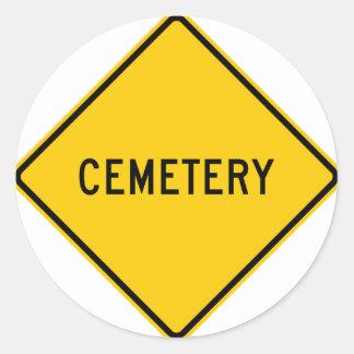 Cemetery Highway Sign Classic Round Sticker