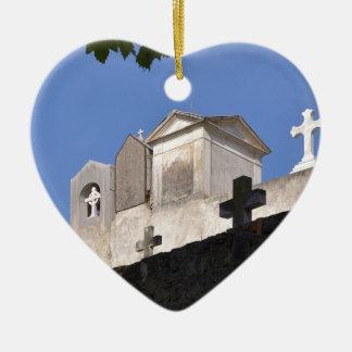 Cemetery in Menton Ceramic Heart Ornament