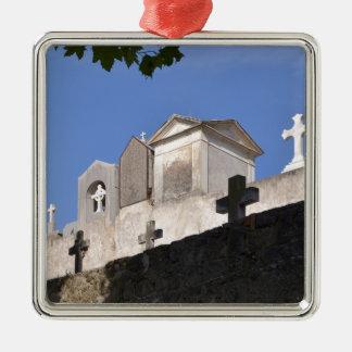 Cemetery in Menton Silver-Colored Square Ornament