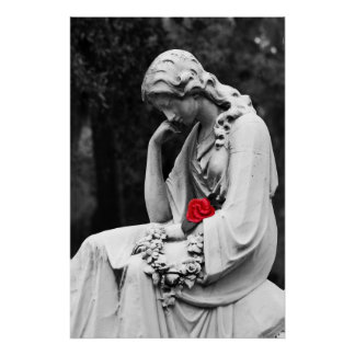 Cemetery Statue B&W with Color Rose Poster