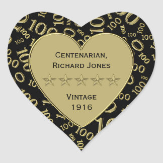 Centenarian 100th Birthday Black and Gold Theme Heart Sticker