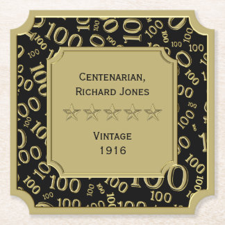 Centenarian 100th Birthday Black and Gold Theme Paper Coaster