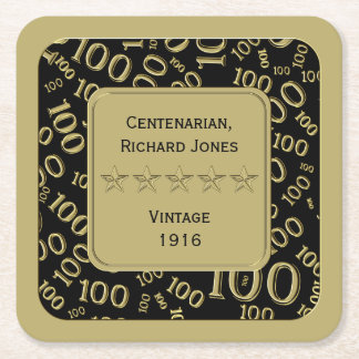 Centenarian 100th Birthday Black and Gold Theme Square Paper Coaster