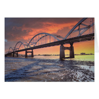 Centennial Bridge at Sunset Card