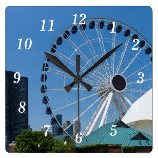 Centennial Ferris Wheel Square Wall Clock