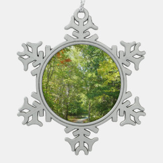 Centennial Wooded Path I Ellicott City Nature Snowflake Pewter Christmas Ornament