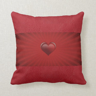 Center of My Heart Red Leather Throw Pillow