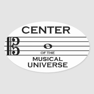 Center of the Musical Universe Alto Clef Design Oval Sticker