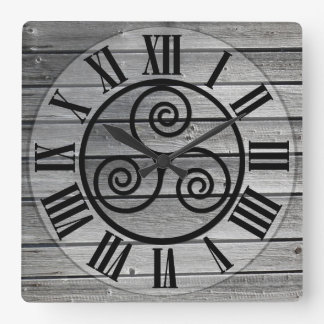 Centered Triskelion On Aged Wood Image, White Clock