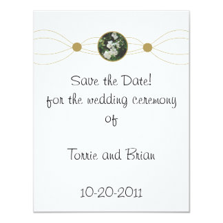 "Centered white flower bouquet Save the Date 4.25"" X 5.5"" Invitation Card"