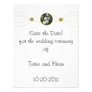 Centered white flower bouquet Save the Date Personalized Invitations