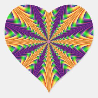 Centerpoint in Purple Orange and Green Heart Sticker