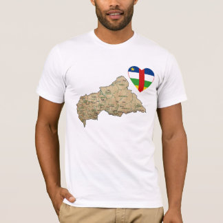 Centrafrique Flag Heart and Map T-Shirt