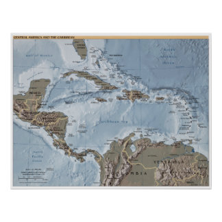 Central America and the Caribbean Map Poster
