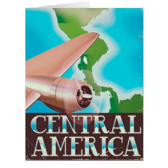 Central America vintage flight poster Card