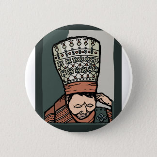 Central Asian Woman Thinking (in hat) 2 Inch Round Button