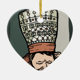 Central Asian Woman Thinking (in hat) Ceramic Heart Ornament