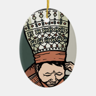Central Asian Woman Thinking (in hat) Ceramic Oval Ornament