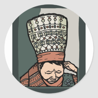 Central Asian Woman Thinking (in hat) Classic Round Sticker