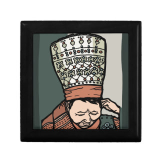 Central Asian Woman Thinking (in hat) Gift Box