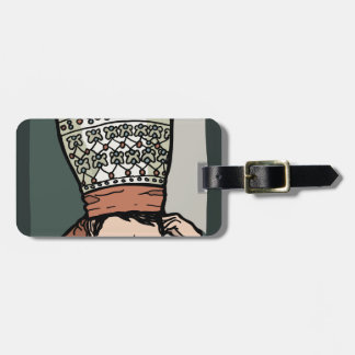 Central Asian Woman Thinking (in hat) Luggage Tag