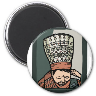 Central Asian Woman Thinking (in hat) Magnet