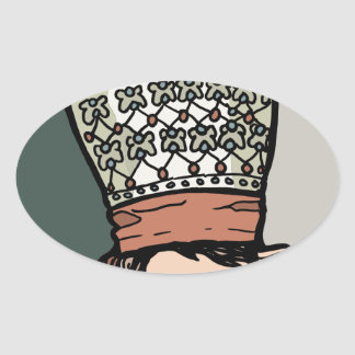 Central Asian Woman Thinking (in hat) Oval Sticker