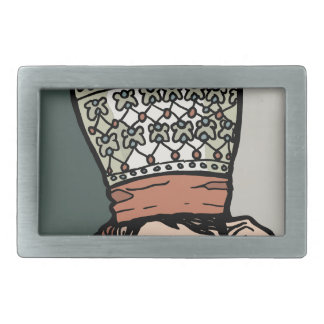 Central Asian Woman Thinking (in hat) Rectangular Belt Buckles