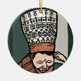 Central Asian Woman Thinking (in hat) Round Ceramic Ornament