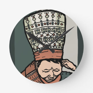 Central Asian Woman Thinking (in hat) Round Clock
