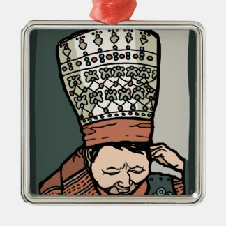Central Asian Woman Thinking (in hat) Silver-Colored Square Ornament
