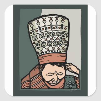 Central Asian Woman Thinking (in hat) Square Sticker